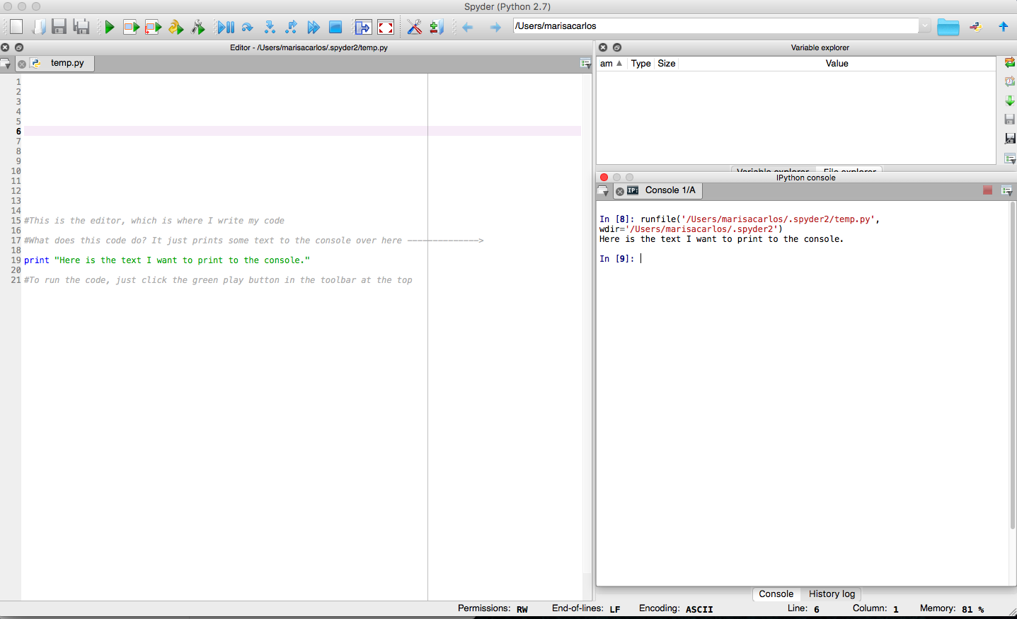 Anaconda IDE Screenshot